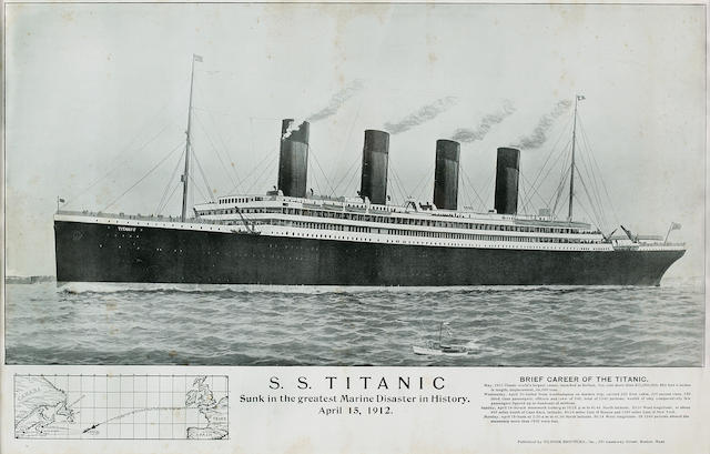 [TITANIC] A memorial poster  circa 1912 14 x 22 in. (35.6 x 55.9 cm.) sight.