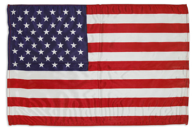 LARGE US FLAG FLOWN ON APOLLO 15. Flown flag, silk,