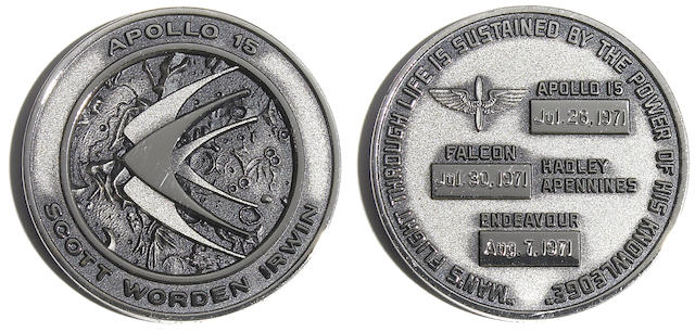 SCOTT'S UNFLOWN APOLLO 15 MEDALLION. Apollo 15 medallion manufactured by the Robbins Company,