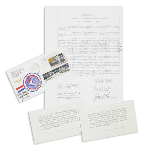 "POSTAL COVER CARRIED TO LUNAR SURFACE. Postal cover flown on Apollo 15, approximately 4 x 6 inches, bearing one 10¢ ""First Man on the Moon"" stamp, and twin 8¢ Apollo 15 ""Decade of Achievement"" stamps."