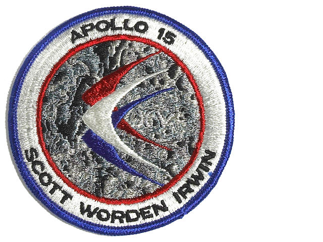 Apollo 15 patch with silver XV, carried to lunar surface
