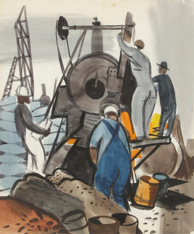 George Booth Post (American, 1906-1997) Railway workers 18 x 15in