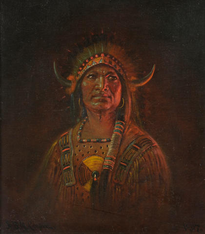 Astley David Middleton Cooper (American, 1856-1924) Portrait of an Indian Chieftain 14 x 12in