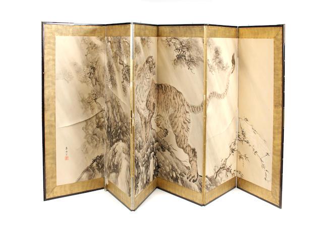 A six panel Asian screen