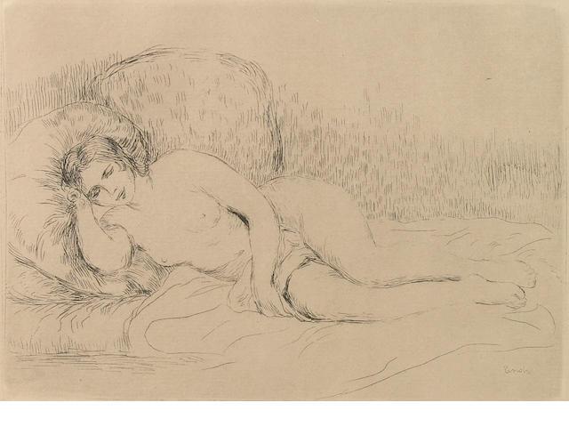 Pierre-Auguste Renoir (French, 1841-1919); Femme couchée (Tournée à gauche);