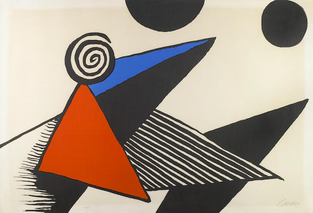 Alexander Calder (American, 1898-1976); Untitled (Pyramid with Swirl and Black Circles);