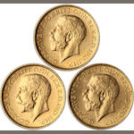 Australia, George V, Sovereigns, 1911-S (3)