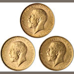 Australia, George V, Sovereigns, 1913-P (3)