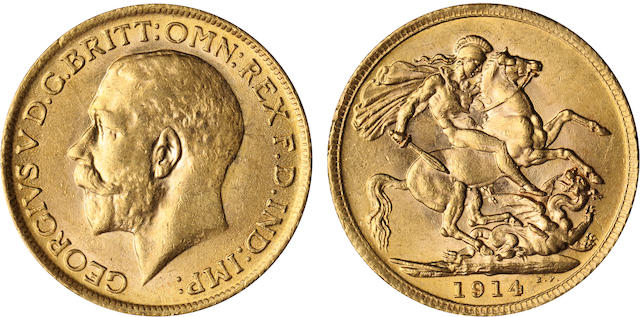 Great Britain, George V, Sovereign, 1914