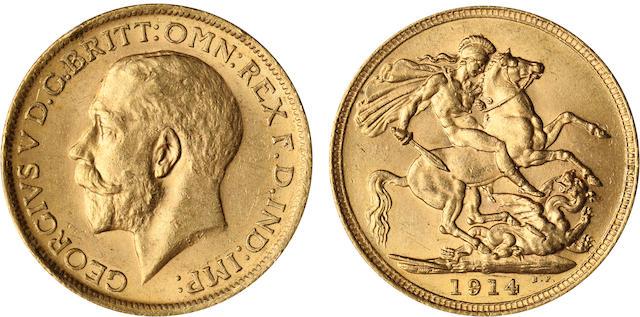 Australia, George V, Sovereign, 1914-S