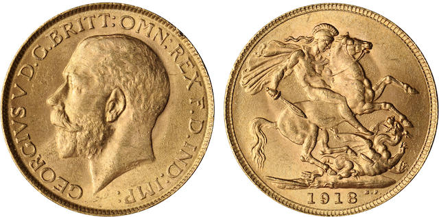India, George V, Sovereign, 1918-I