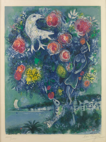 After Marc Chagall (Russian/French, 1887-1985); by Charles Sorlier La Baie des Anges au Bouquet de Roses, from Nice et la Côte d'Azur;