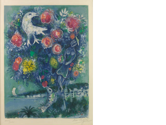 After Marc Chagall (Russian/French, 1887-1985); by Charles Sorlier La Baie des Anges au Bouquet de Roses, from Nice et la Cte d'Azur;