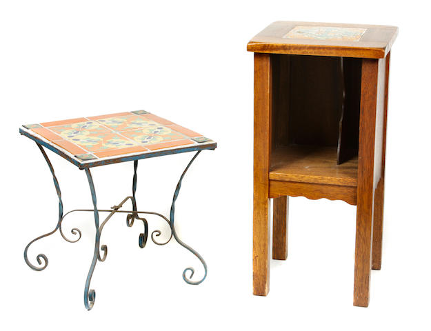 A Spanish Revival tile top wrought iron table and oak side cabinet