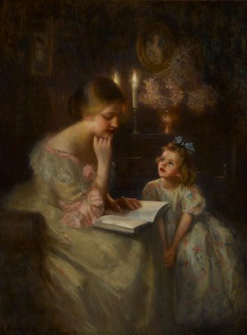 Francis Day (American, 1863-1942) A story read by candlelight 40 1/4 x 30in