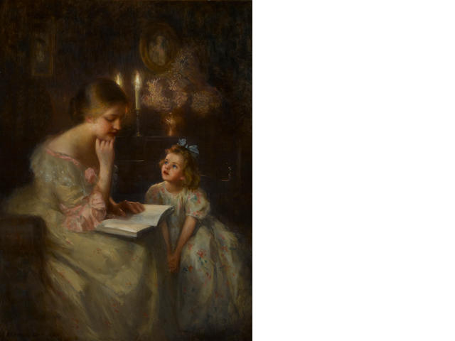 Francis Day (American, 1863-1942) Mother reading to her child, signed 'Francis Day ANA' (lower right), o/c, 40 x 30in