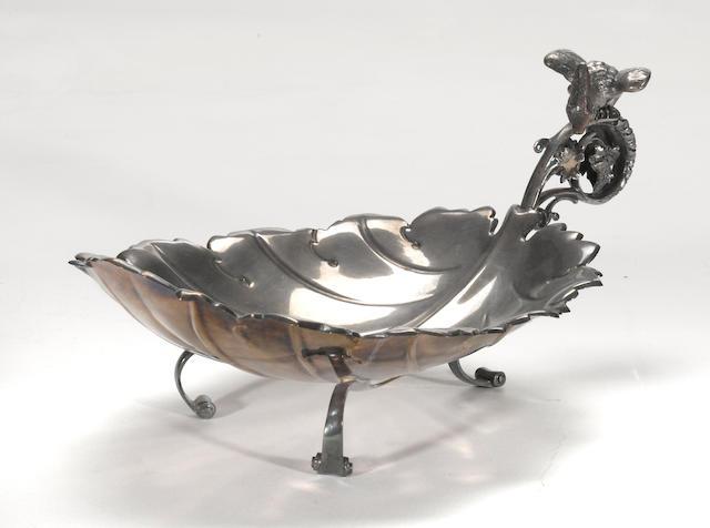 A continental 800 standard silver figural tripod fruit stand Circa 1900  # 3641