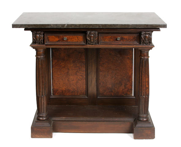 An Italian Renaissance Revival walnut side table