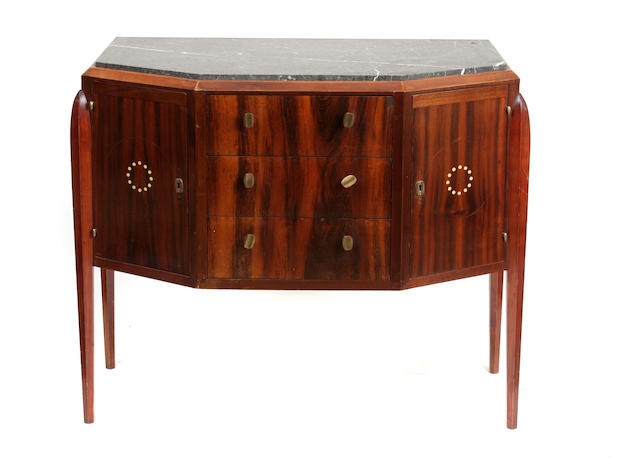 An Art Deco inlaid mahogany and marble sideboard
