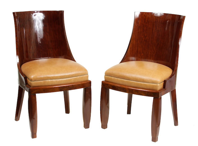 A set of eight French Art Deco mahogany dining chairs