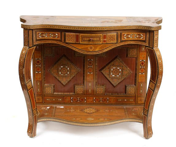 A Levantine shell inlaid carved hardwood console
