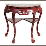 A Chinese mother of pearl inlaid rosewood console table