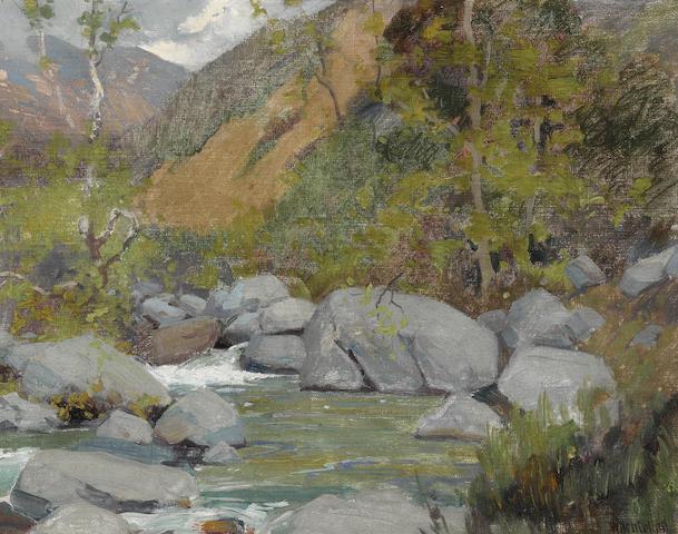 Elmer Wachtel (American, 1864-1929) A canyon wash 13 3/4 x 18in