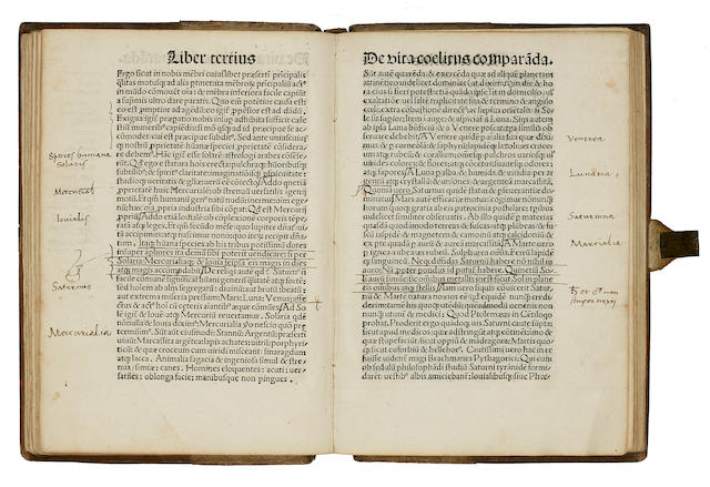 FICINO, MARSILIO. 1433-1499. De triplici vita; Apologia: Quod necessaria sit ad vitam securitas; Annotatio. [Basel: Johann Amerbach, not after 1498.]