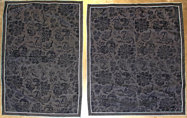 A pair of navy blue cut-velvet panels