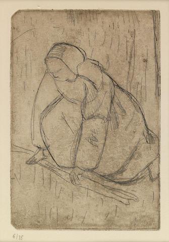 Armand Seguin (French, 1869-1903); Jeune femme coucheé; Nue avec chignon; Femme en coiffe, de dos; Femme assise; La Glaneuse; (5)