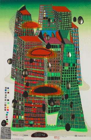 Friedensreich Hundertwasser (Austrian, 1928-2000); Good Morning-Bleeding Town ;