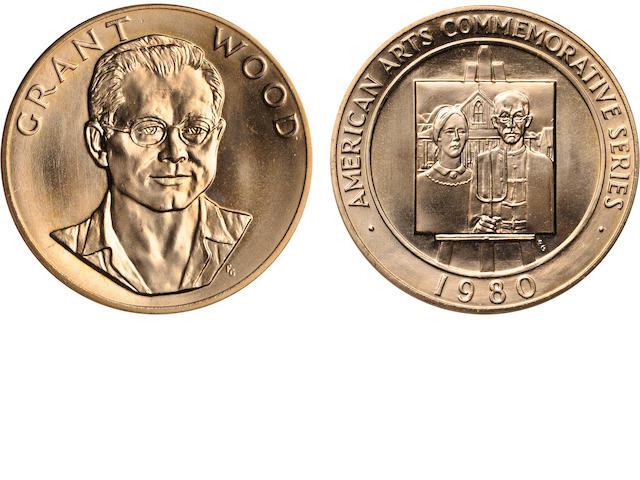 American Arts Gold Medallion, Grant Wood, 1980, 1 oz. Gold