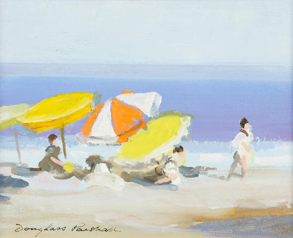 Douglass Ewell Parshall (American, 1899-1990) Beach Umbrellas signed 'Douglass Parshall' (lower left) oil on wood panel 8 x 10in
