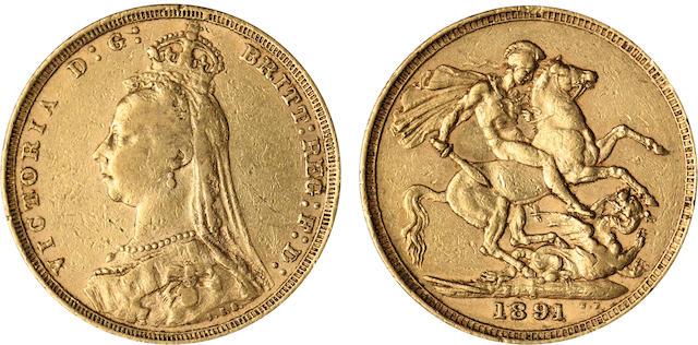 Australia, Victoria, Sovereign, 1891-S