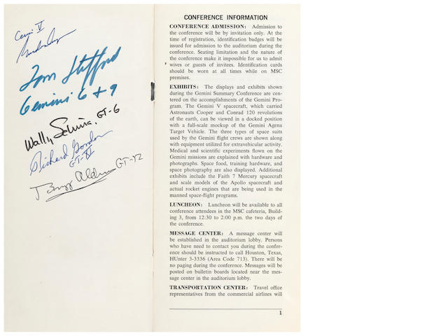 GEMINI SUMMARY MEETING AT THE MANNED SPACECRAFT CENTER - SIGNED.