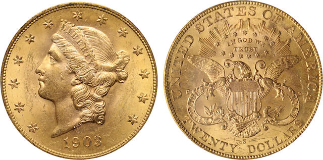1903-S $20 MS64 PCGS