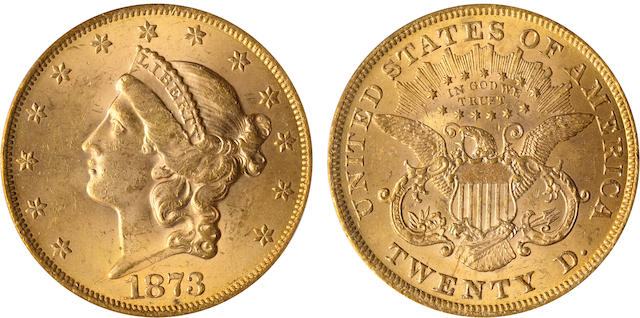 1873 Open 3 $20 MS63 PCGS