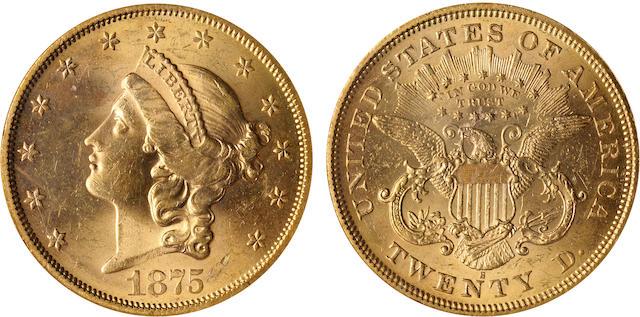 1875-S $20 MS63 NGC