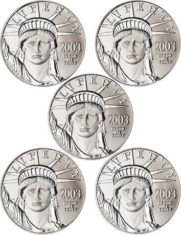 2003 Statue of Liberty $50 Platinum Eagles MS69 PCGS (5)