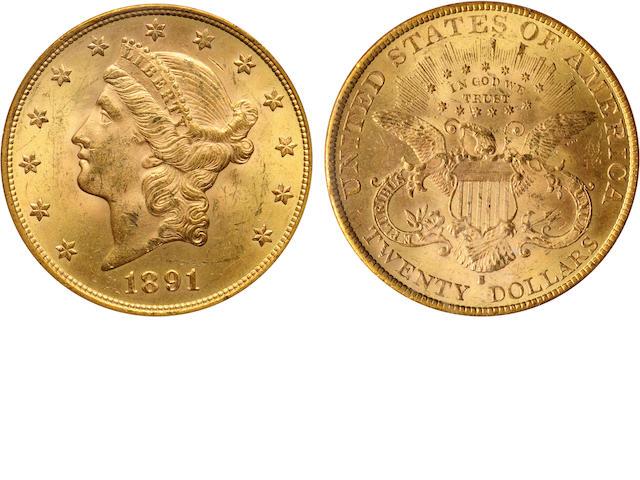 1891-S $20 MS63 PCGS