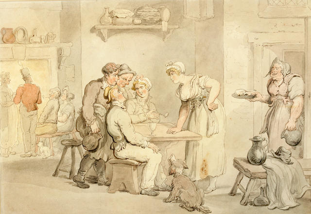 ROWLANDSON, THOMAS. 1756-1827. Original ink and watercolor,