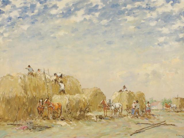 Josef Csillag (Hungarian, 1894-1977) Gathering hay 23 x 31in