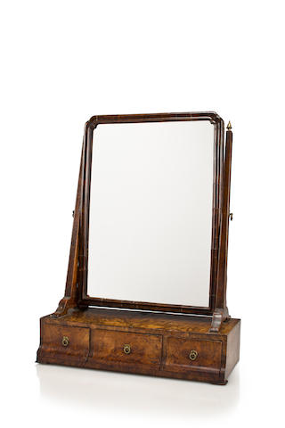 A Queen Anne walnut dressing mirror