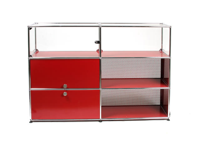 A contemporary red enameled and chromed metal dresser