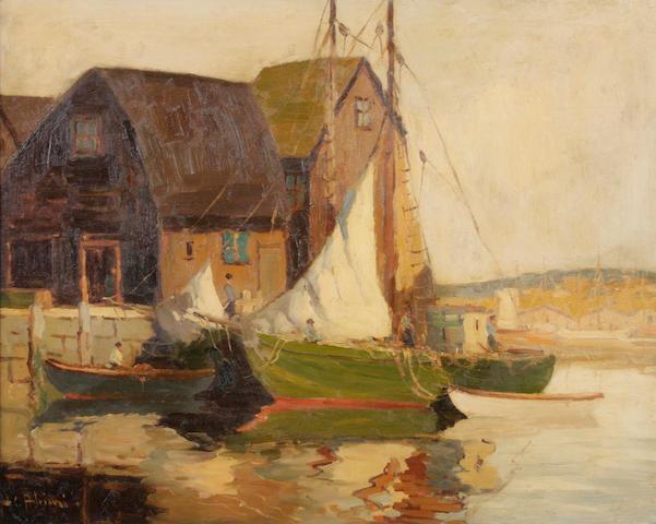 Camillo Adriani (American) Harbor scene 24 x 30in