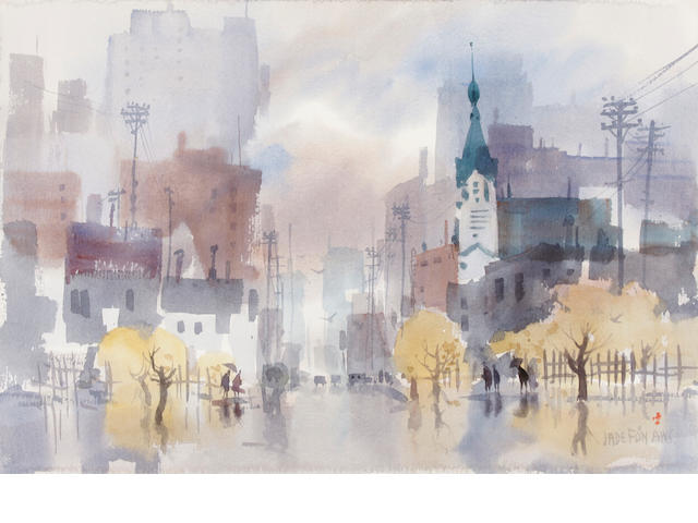 Jade Fon, Cityscape, watercolor
