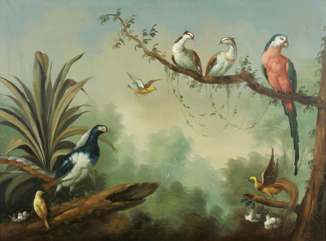 Ira Monte (Spanish, born 1918) Birds of the tropics 29 3/4 x 40in