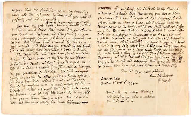 "SWIFT, JONATHAN. 1667-1745. Autograph Letter Signed (""J: Swift""),"
