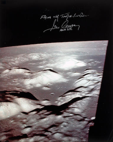 FLYING OVER TAURUS LITTROW—APOLLO 17. Color photograph,