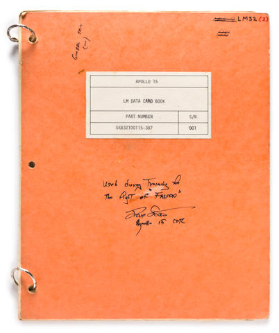 USED IN TRAINING—APOLLO 15 LM DATA CARD BOOK. Apollo 15. LM Data Card Book. Part Number SKB32100115-387. S/N 001. [June 10, 1971.]